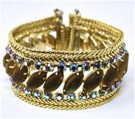 Vintage C 1960 Hobe Gilt Metal Rhinestone Bracelet