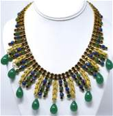 C 1960s European Gilt Paste & Jade Glass Necklace