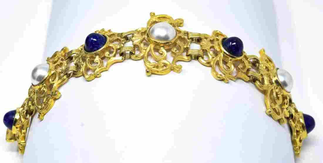 Vintage C 1960s Lucien Piccard Gilt Metal Bracelet