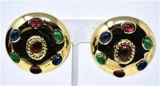 Vintage C 1980s Ciner Gilt  Cabochon Earrings