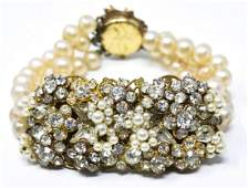 Miriam Haskell Style Faux Pearl  Paste Bracelet