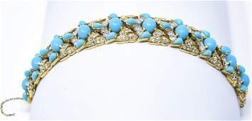 Vintage C 1970 Crown Trifari Mughal Style Bracelet
