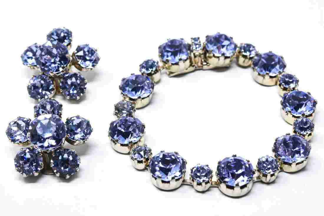 Vintage C 1960s Rhinestone Bracelet & Earring Set