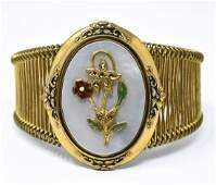 Vintage C 1950s Mother of Pearl & Marcasite Cuff