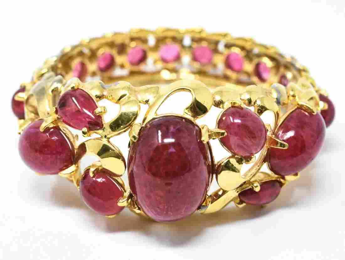 Vintage C 1960s Gilt Metal & Ruby Paste Bracelet