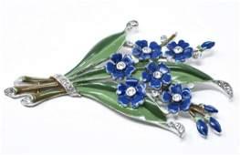 Vintage C 1940s Crown Trifari Floral Clip Brooch