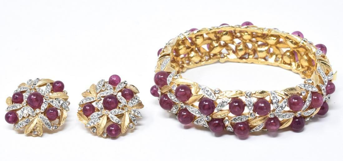 Vintage Gilt Metal Ruby Paste Costume Jewelry Set