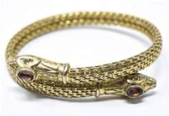 Vintage Gilt Metal  Paste Snake Bypass Bracelet
