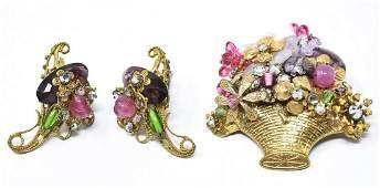 Vintage C 1940 Miriam Haskell Brooch  Earrings