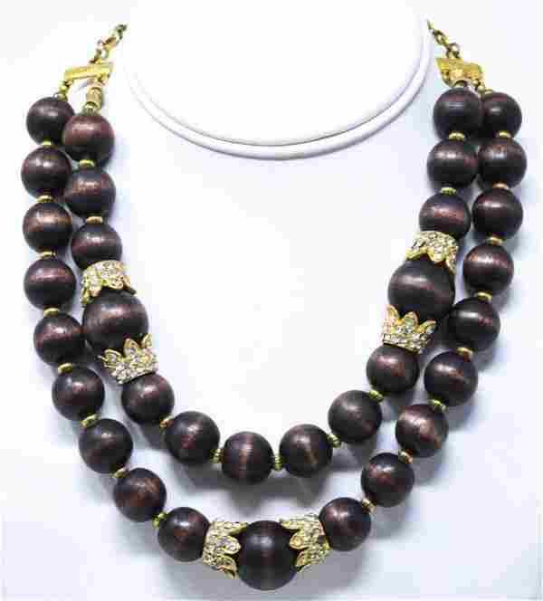 Kenneth Lane Wood Bead & Rhinestone Necklace
