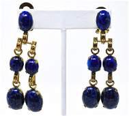 Pair of Vintage Schreiner Git & Lapis Earrings