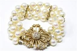 Vintage Ciner Faux Pearl Rhinestone Gilt Bracelet
