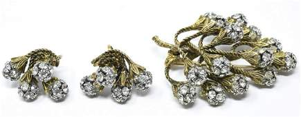 Vintage C 1970s Brooch & Clip on Earring Set