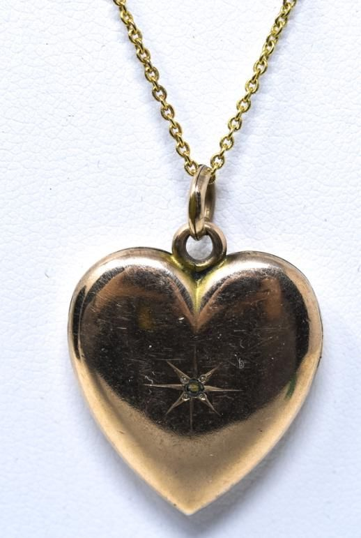 Antique 19th C Heart Locket w Rose Cut Diamond
