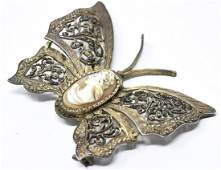 Vintage Italian Gilt Silver Cameo Butterfly Brooch