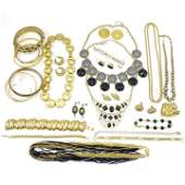 Large Lot of Gold Tone Vintage Costume Jewelry