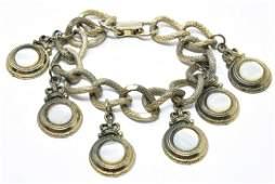 Vintage Mother of Pearl & Crown Motif Bracelet