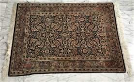 Hand Knotted Silk Cotton Blend Oriental Throw Rug