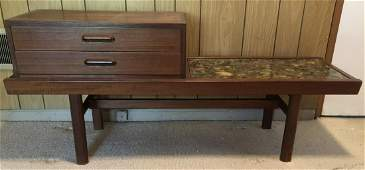 Mid C Rosewood Console Table w Inlaid River Stone