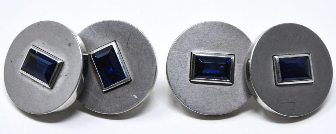 Art Deco Cartier Platinum & Sapphire Cuff Links