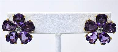 Pair of 14kt Yellow Gold Diamond Amethyst Earrings