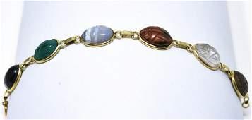 Estate 14kt Yellow Gold  Carved Scarab Bracelet