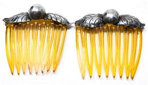 Pair of Sterling Silver & Faux Amber Hair Ornament