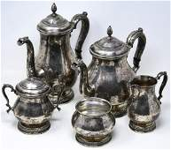 Sterling Silver Coffee  Tea Service  Five Pieces
