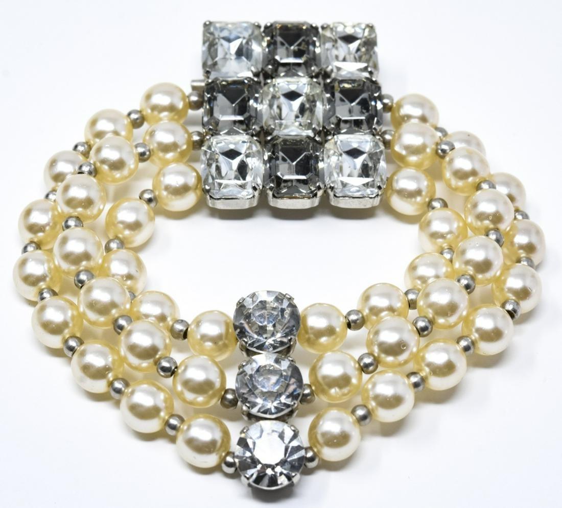 Large Scale Vintage Faux Pearls Rhinestone Brooch