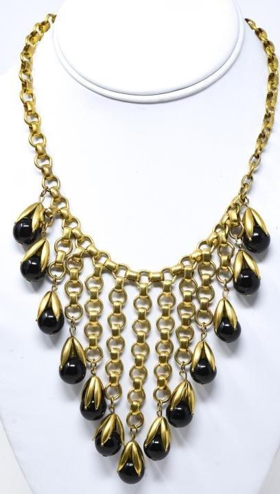 Vintage Gilt & Art Glass Staggered Fringe Necklace