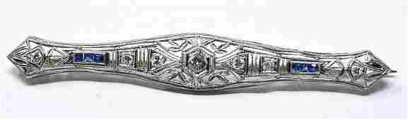 Art Deco Platinum Diamond Sapphire Bar Brooch