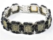 Art Deco Sterling Sterling Onyx Marcasite Bracelet