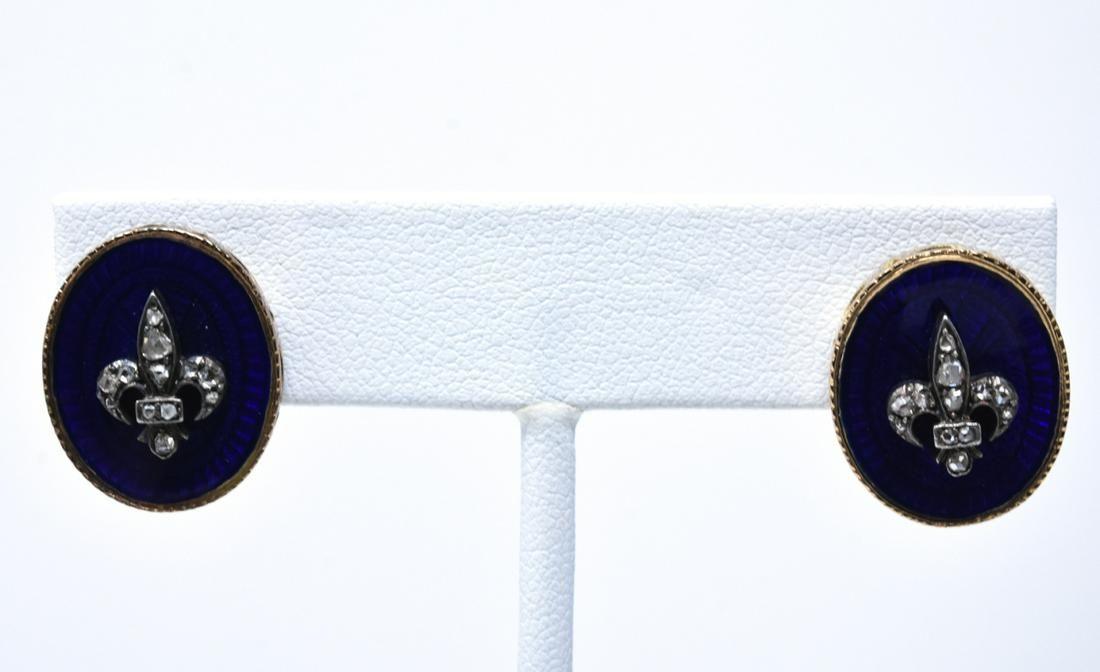 Antique 14kt Gold Diamond & Enamel Earrings