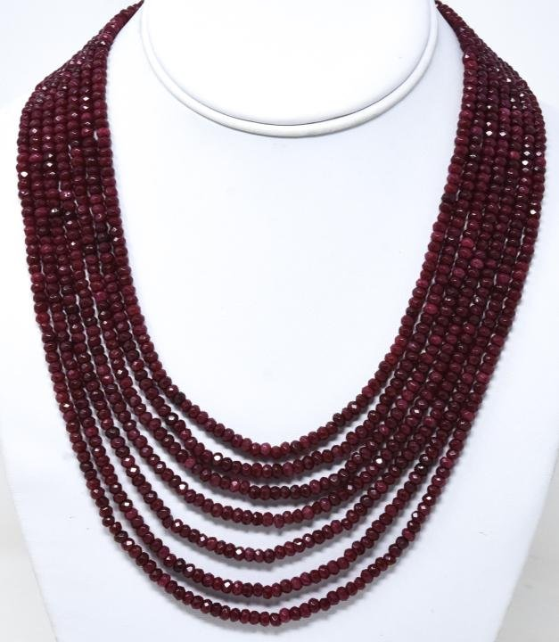 430 Carat Faceted Ruby Bead Multi Strand Necklace