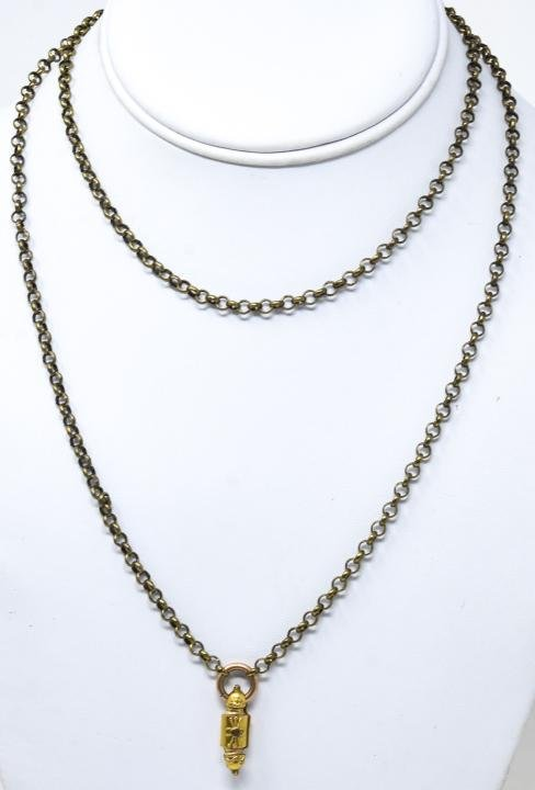 Antique 19th C Rolo Chain Necklace w Pendant
