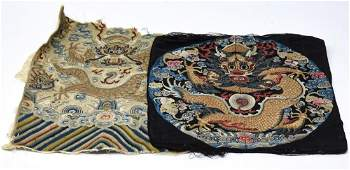 2 Chinese Embroidered Silk Partial Dragon Textiles