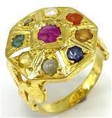 Estate Diamond Natural Emerald Ruby Pearl Ring