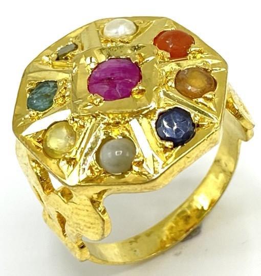 Estate Diamond, Natural Emerald, Ruby, Pearl Ring