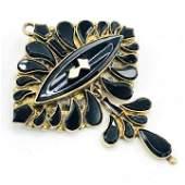 Victorian 9K Gold  Onyx Brooch pendant