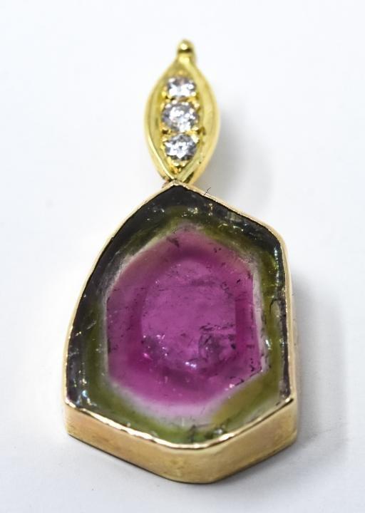 Diamond, Watermelon Tourmaline 14k Gold Pendant