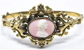 Antique 19th C Victorian 14k Gold Cameo Bracelet