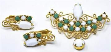 Vintage Costume Jewelry Demi Parure Brooch Earring