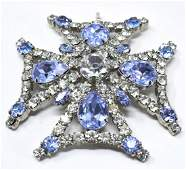 Large Vintage Aqua Paste Maltese Cross Pendant