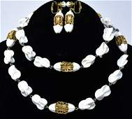 Vintage Art Glass  Gilt Metal Costume Jewelry Set