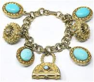 Vintage Costume Jewelry Charm Bracelet Turquoise