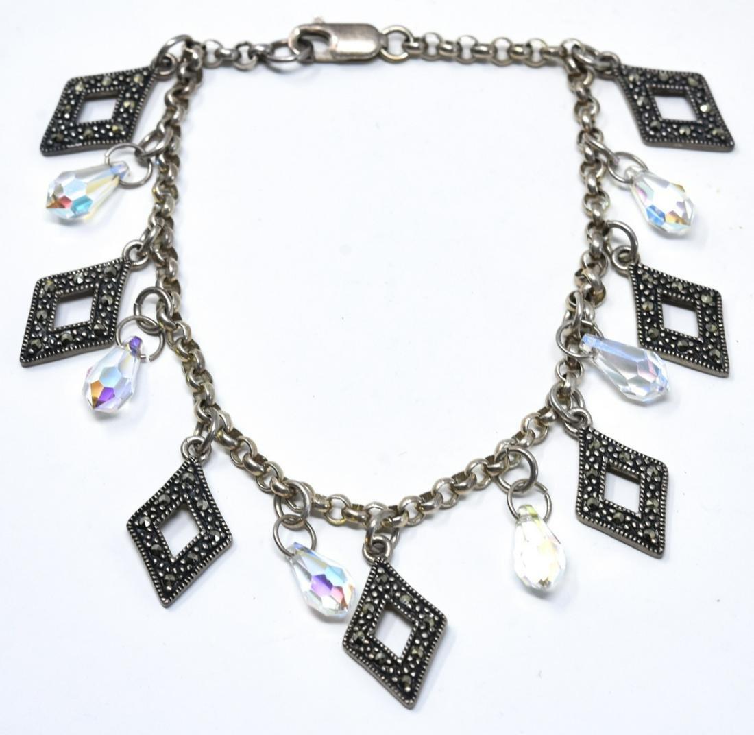 Sterling Silver Bracelet w Swarovski & Marcasite