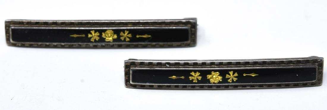 Pair Antique 19th C Gold Sterling & Enamel Bar Pin