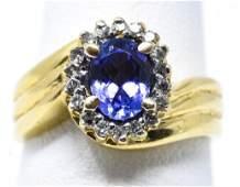 Estate 14kt Yellow Gold Tanzanite & Diamond Ring