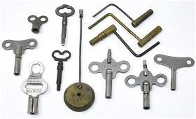 Collection of Antique 19th C Clock Keys & Pendulum