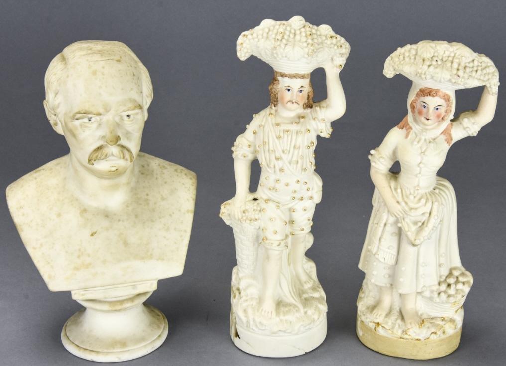 3 Antique Bisque Porcelain Table Statues